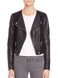 Joie Iridessa Leather And Ponte Moto Jacket Caviar