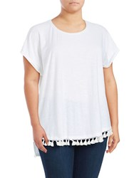 Vince Camuto Plus Tassel Trimmed Tee Ultra White