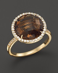 Bloomingdale's Smoky Topaz And Diamond Large Halo Ring In 14K Yellow Gold Brown Gold