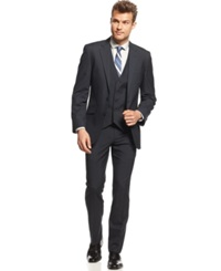 Unlisted By Kenneth Cole Navy Solid Vested Slim Fit Suit