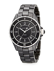 Saks Fifth Avenue Ceramic Round Rotating Bezel Watch Black