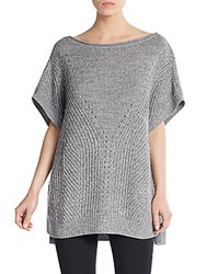 Halston Wool Knit Poncho Tunic Heather Grey