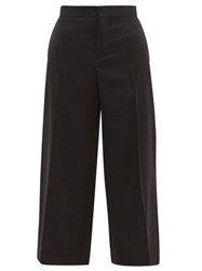 Marni Contrast Stitch Cropped Wool Trousers Black