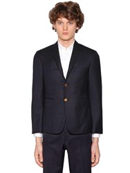 Thom Browne Single Breasted 120S Wool Twill Jacket Navy