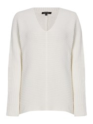 Ellen Tracy Deep V Neck Knitted Tunic Off White