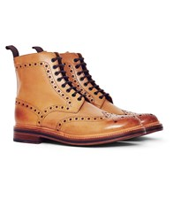 Grenson Fred Leather Brogue Boot Tan