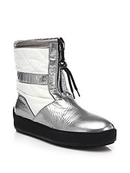 Aquatalia By Marvin K Kali Patent Leather And Quilted Short Boots Silver