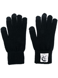 Diesel Logo Patch Knitted Gloves Black