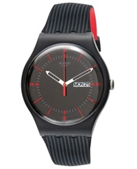 Swatch Unisex Swiss Gaet Black And Red Double Layered Silicone Strap Watch 41Mm Suob714