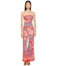 Fuzzi Strapless Jumpsuit In Dragonessa Print Fuchsia Women's Jumpsuit And Rompers One Piece Pink
