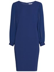 Gina Bacconi Crepe Dress With Pleated Chiffon Sleeves Navy