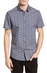 Vince Camuto Slim Fit Print Sport Shirt Blue Abstract Floral