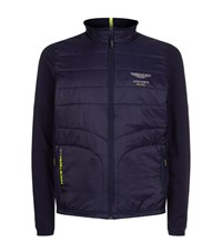 Hackett Aston Martin Quilted Front Zip Up Jacket Male Navy