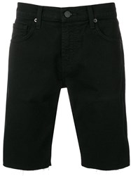 J Brand Frayed Bermuda Denim Shorts Black