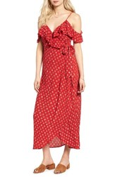 Band Of Gypsies Women's Foulard Cold Shoulder Dress Red Ivory