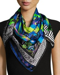Versace Silk Square Abstract Scarf Multi Neon