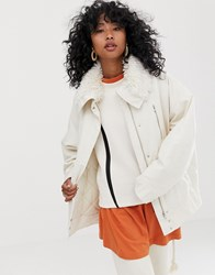 Weekday Short Parka Jacket With Faux Fur Collar In Off White Off White