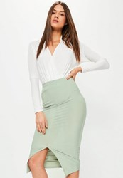 Missguided Green Longline Ribbed Midi Skirt Mint