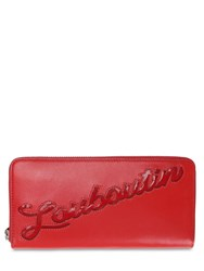 Christian Louboutin Panettone Logo Leather Wallet Red