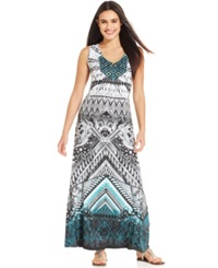 Style And Co. Printed Embroidered Dip Dye Maxi Dress