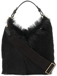 Anya Hindmarch Build A Bag Mini In Black Long Shearling With Mini