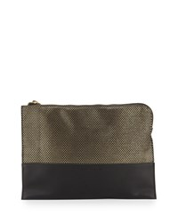French Connection Ryan Metallic Faux Leather Clutch Bag Black Gold