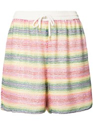 Ashish Beaded Striped Shorts Women Silk Polyester S