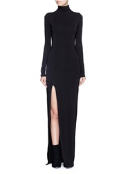 Elizabeth And James 'Lana' Turtleneck Split Jersey Maxi Dress Black