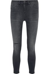 Rag And Bone The Capri Cropped Distressed Mid Rise Skinny Jeans Charcoal