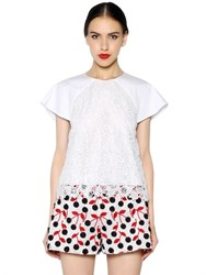 Giamba Flower Lace And Cotton Poplin Top