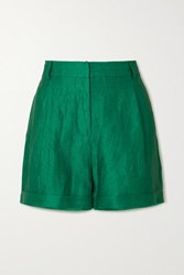 Zeus Dione Cyrus Crinkled Linen Shorts Green