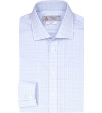 Turnbull And Asser Slim Fit Checked Cotton Shirt Sky White