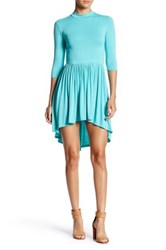 Go Couture Mock Neck Gathered Hi Lo Dress Green