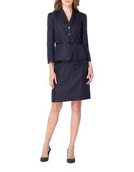Tahari By Arthur S. Levine Petite Belted Skirt Suit Set Navy