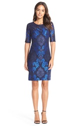 Donna Ricco Embroidered Lace Sheath Dress Navy