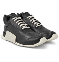 Rick Owens Adidas Level Runner Low Leather And Rubber Sneakers Black