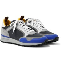 Dunhill Radial Runner Leather And Suede Trimmed Mesh Sneakers Midnight Blue