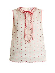 Red Valentino Polka Dot And Ruffle Embellished Sleeveless Top Red White