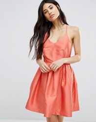 Girls On Film Fit And Flare Prom Dress Coral Orange