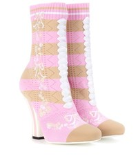 Fendi Stretch Knit Ankle Boots Pink