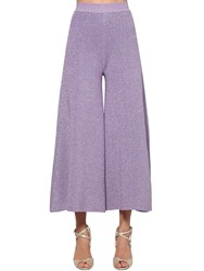 Missoni Cropped Lurex Knit Pants Purple