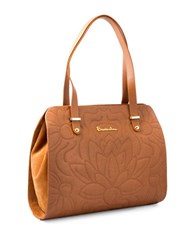 Braccialini Silvia Leather And Suede Shopper Bag Cognac