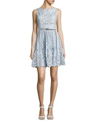 Eliza J Petite Boatneck Sleeveless Lace Dress Blue