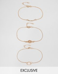 Monki 3 Pack Bracelet Gold