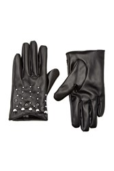 Forever 21 Faux Leather Stud Gloves Black Silver