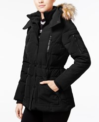 Guess Faux Fur Trim Hooded Puffer Coat Only At Macy's Black