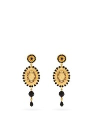 Dolce And Gabbana Cameo Crystal And Bead Drop Earrings Gold