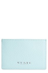 State Bags Women's Greenwood Monaco Leather Card Case Blue Mint