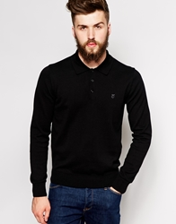 Peter Werth Long Sleeve Knitted Polo Black