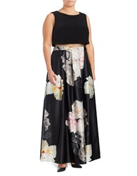 Betsy And Adam Pocketed Floral Print Popover Ball Gown Black Floral